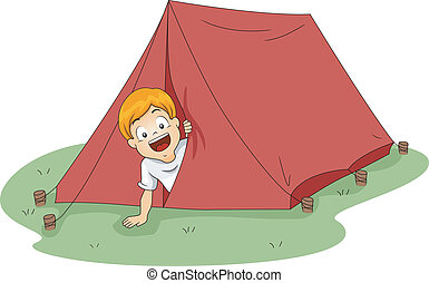 Camp Tent - Illustration of a Boy Peeking From a Tent