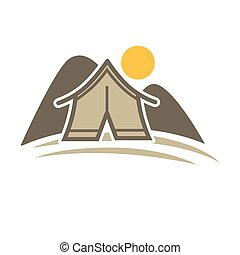 Camp tent in forest. Camping place isolated vector