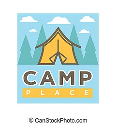 Camp tent in forest vector camping isolated icon