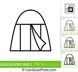 Camp tent summer awning thin line vector icon