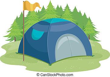 camp, tente, drapeau