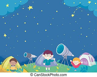 camp, tente, illustration, fond, gosses, astromomie