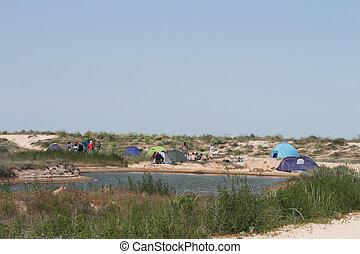 camp, tente plage