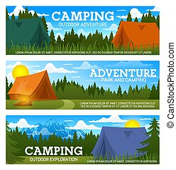 Camp tents and campfire, forest trees and mountain
