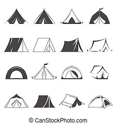 Hiking and camping tent vector icons. Tourism and camping symbols