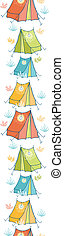 Camp tents vertical seamless pattern background border -...