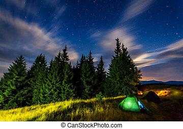 camp - The Milky Way over mountains. Carpathian, Ukraine, ...