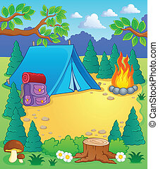 Camp theme image 1 - vector illustration.