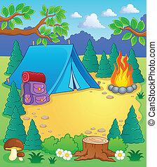 Camp theme image 1 - vector illustration.