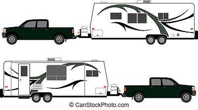 Camp Trailer With Pickup - Pickup is pulling camp trailer,...