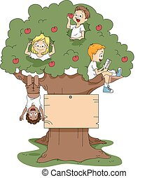 Camp Tree - Illustration of Kids Playing in a Tree