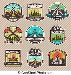 camp, vecteur, étiquette