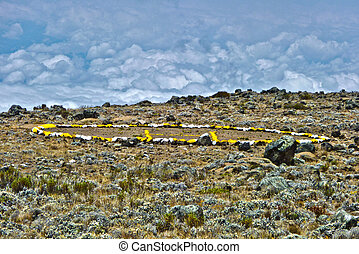 camp with heli landing port at Mount Kilimanjaro trail in Africa