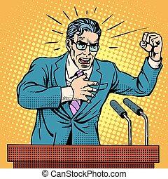 campaña, candidato, podio, discurso, elección, política
