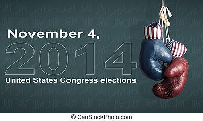 campaña, Republicanos,  -, elección,  2014, día, Demócratas