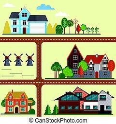campagna, appartamento, concetto, mappa