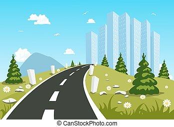 campagna, città, attraverso, strada
