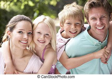 campagna, divertimento, insieme, famiglia, detenere