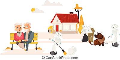 campagna, lavori domestici, robot, libero, persone