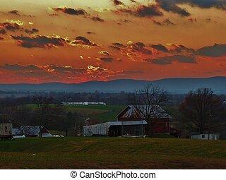 campagna, scenario, tramonto