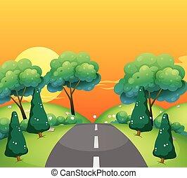 campagna, tramonto, scena, strada