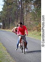 campagne, équitation, couple, bicycles