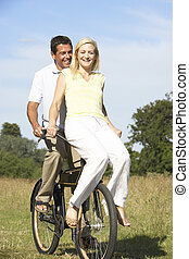 campagne, équitation, couple, vélo, jeune