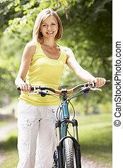 campagne, équitation, femme, vélo