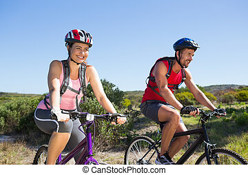 campagne, actif, couple, cyclisme