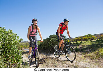 campagne, actif, couple, cyclisme