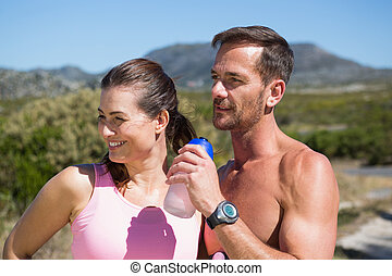 campagne, actif, couple, jogging