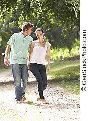 campagne, affectueux, marche, couple, ensemble
