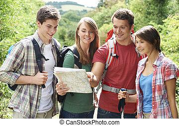 campagne, amis, groupe, jeune, randonnée