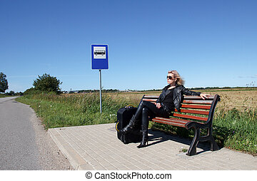 campagne, arrêt autobus