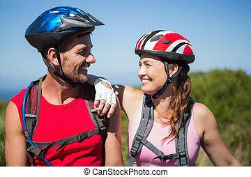 campagne, autre, couple, actif, cyclisme, chaque, sourire
