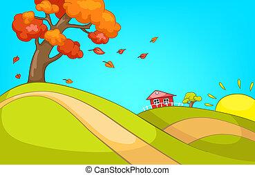 campagne, autumn., dessin animé, fond