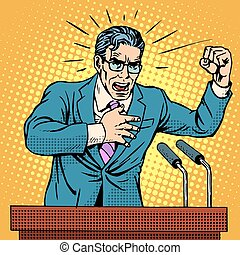 campagne, candidat, podium, parole, élection, politique