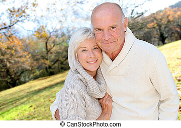 campagne, couple, closeup, personne agee