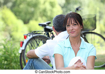 campagne, couple, cyclisme, dehors