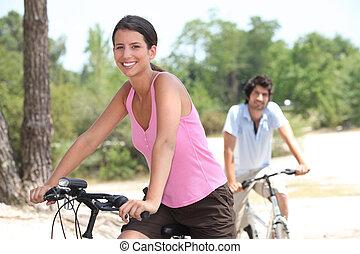 campagne, couple, cyclisme