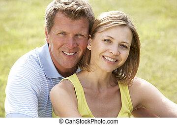 campagne, couple, milieu, amusement, vieilli, avoir