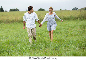 campagne, courant, couple, jeune