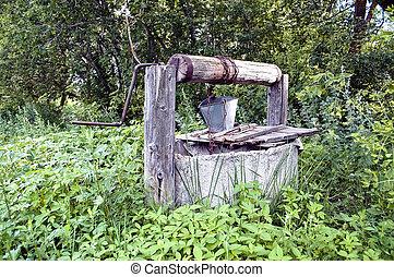 campagne, eau, vieux, puits