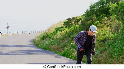 campagne, frais, vue, skateboarders, caucasien, descendant, 4k, patinage, devant, jeune