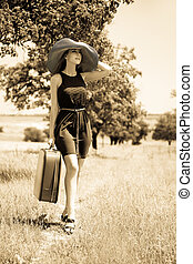 campagne, girl, solitaire, valise