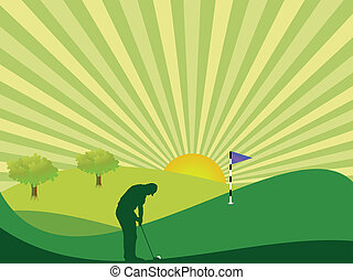 campagne, golfeur