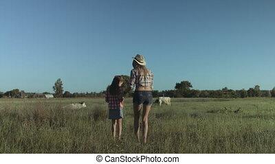 campagne, heureux, délassant, famille, nature