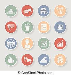 campagne, icônes, set., politique, illustration, vecteur, élection, rond