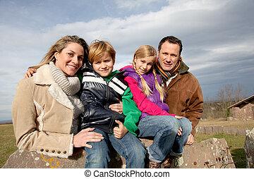 campagne, jour, famille, promenade