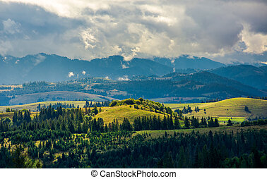 campagne, jour, nuageux, vallonné